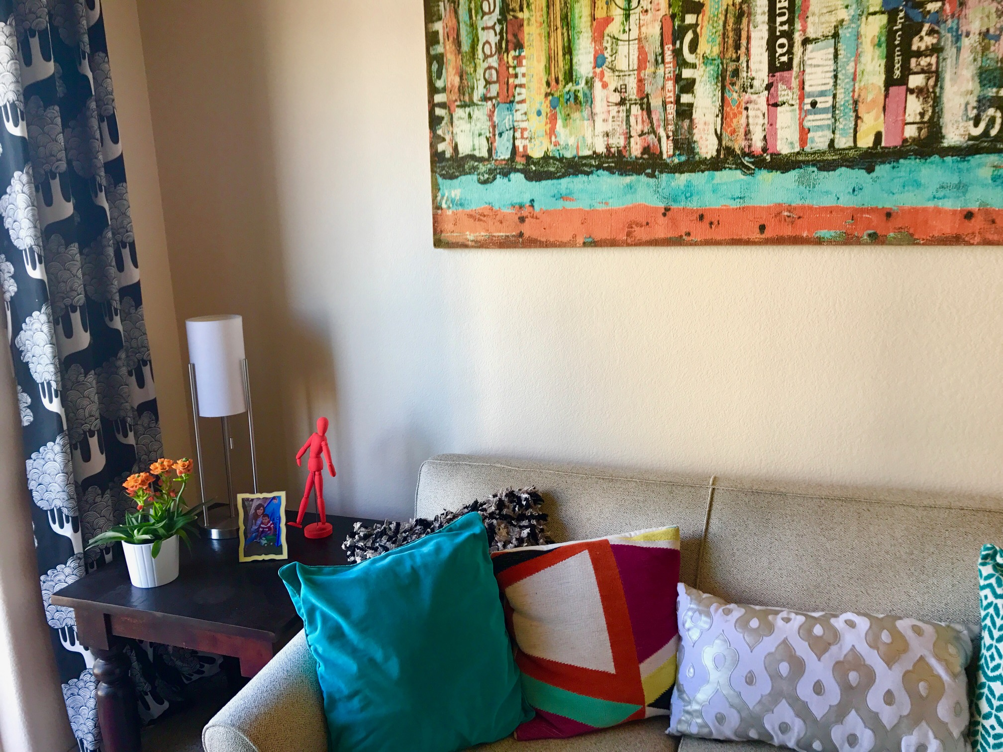 My Camden Apartment – Have fun with pillows!  They make a big statement.