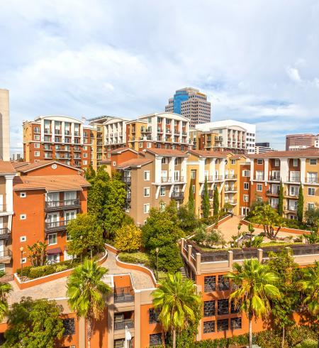 Camden Harbor View apartments in Long Beach, California.